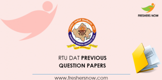 RTU DAT Previous Question Papers