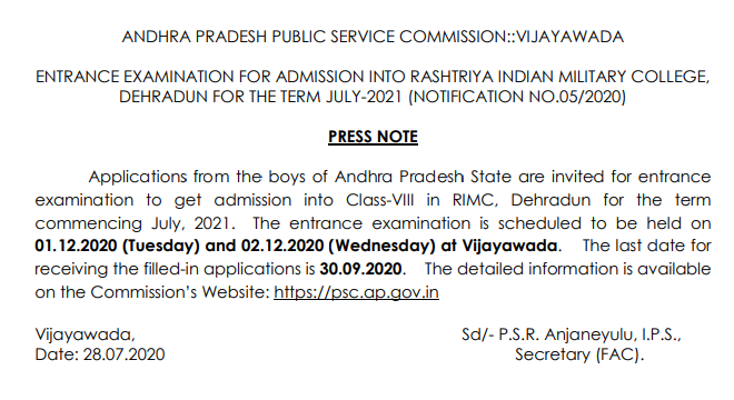 APPSC RIMC Exam Dates Notice