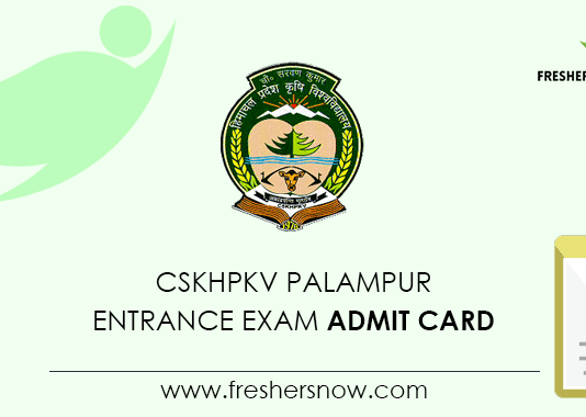 CSKHPKV Palampur Entrance Exam Admit Card