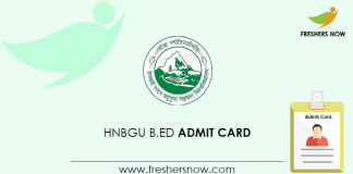HNBGU B Ed Admit Card