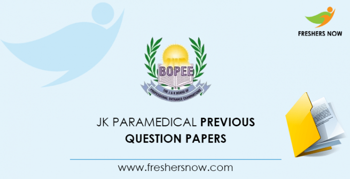 JK Paramedical Previous Question Papers