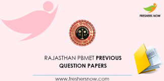 Rajasthan PBMET Previous Question Papers