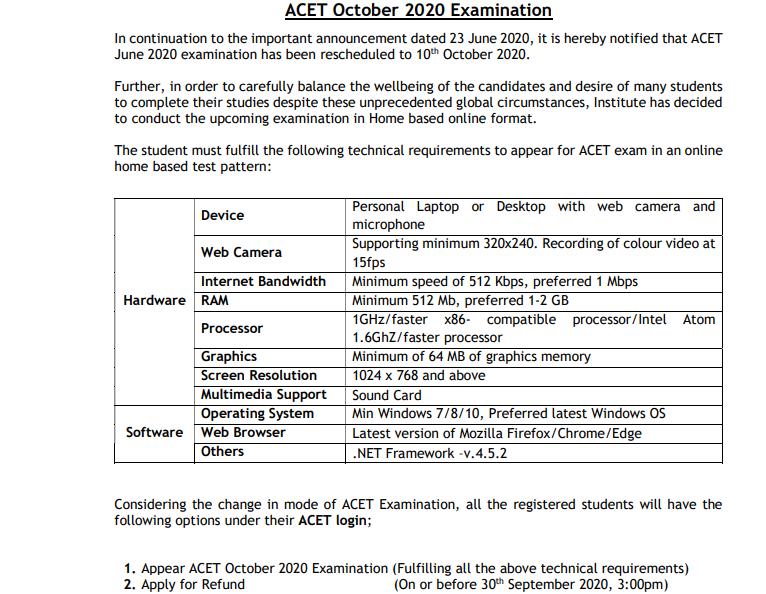 ACET Exam Date