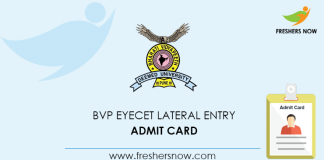 BVP EYECET Lateral Entry Admit Card