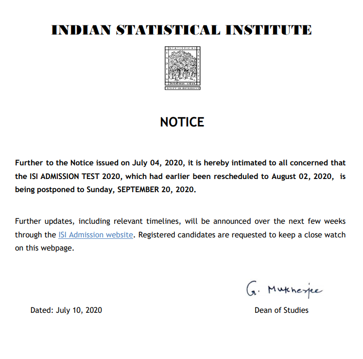 ISI Admission Test Notice