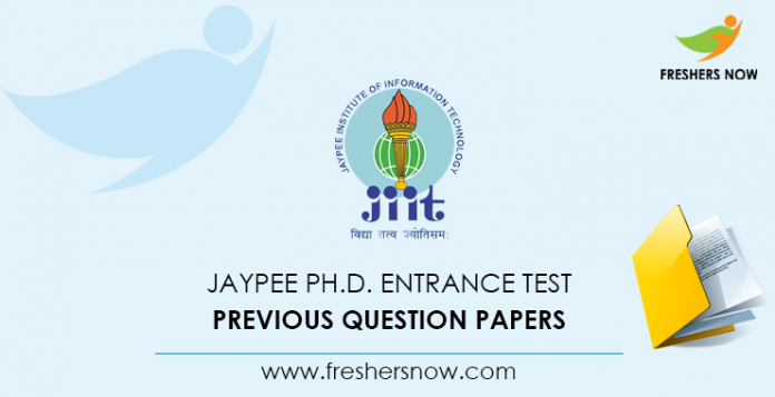 JAYPEE Ph. D. Entrance Test Previous Question Papers