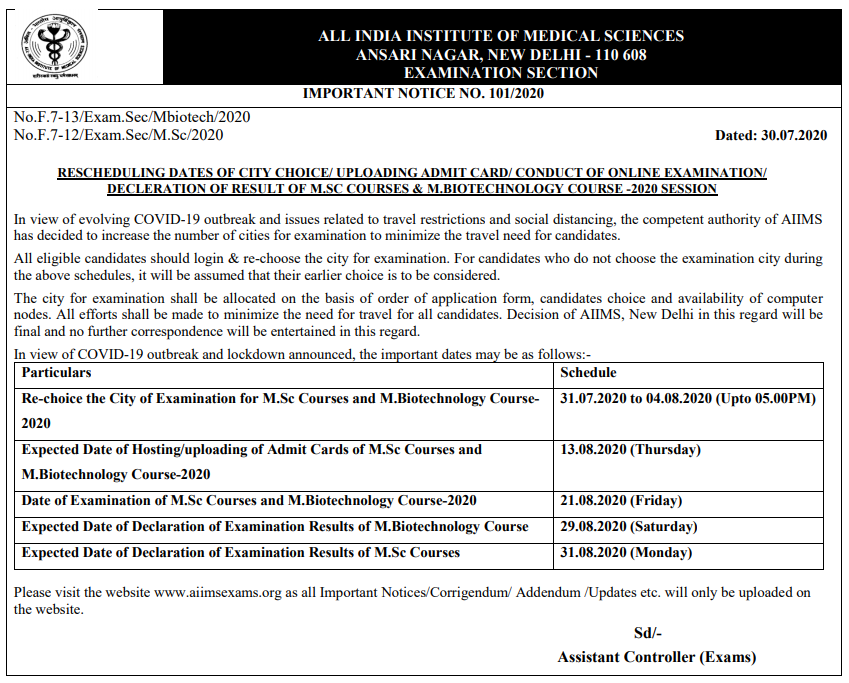AIIMS M.Sc Nursing Exam Dates