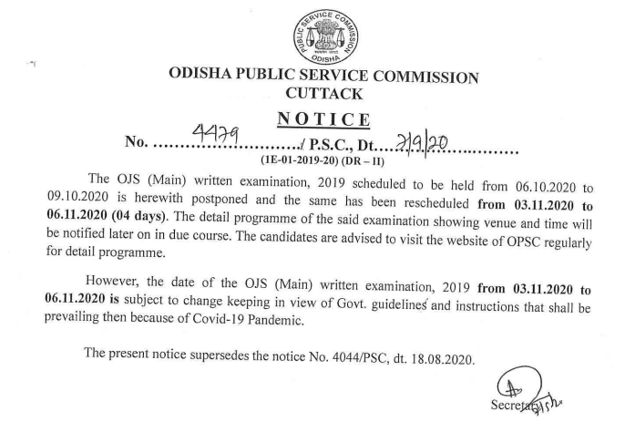 OPSC Civil Judge Exam Notice