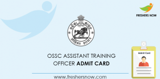OSSC Assistant Training Officer Admit Card