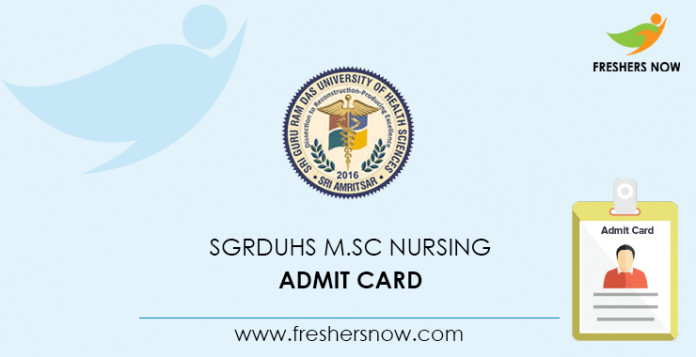 SGRDUHS M Sc Nursing Admit Card