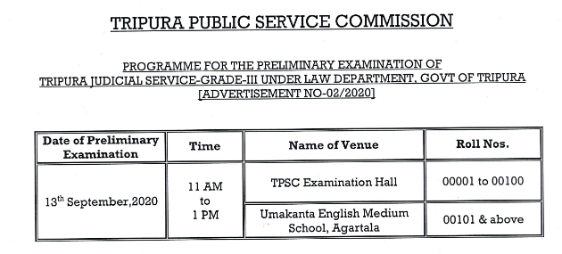 TPSC Judical Service Exam Date