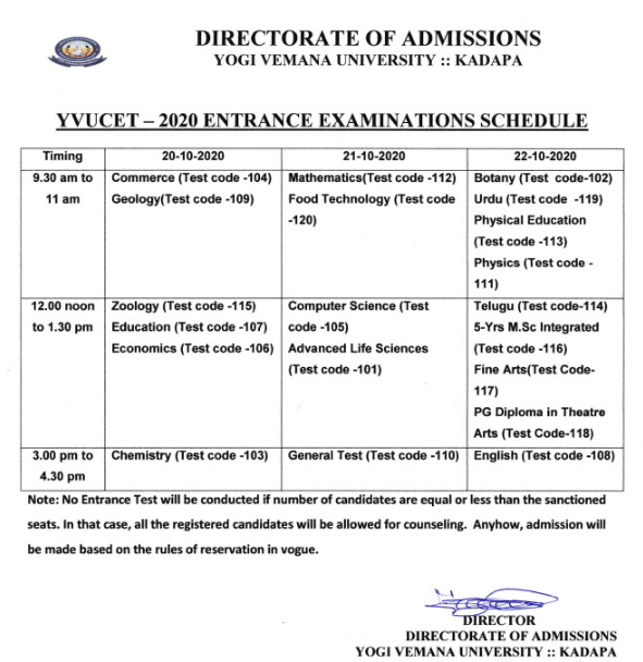 YVUCET Exam Dates