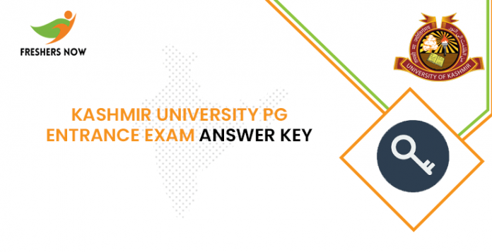 Kashmir University PG Entrance Exam Answer Key