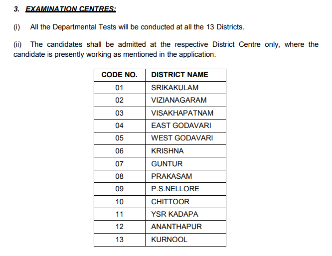 AP Departmental Test Exam centres