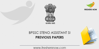 BPSSC ASI Steno Previous Question Papers