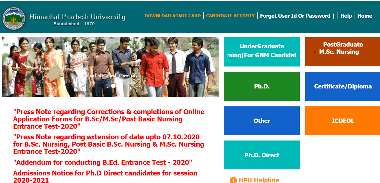 HPU B.Ed admit Card
