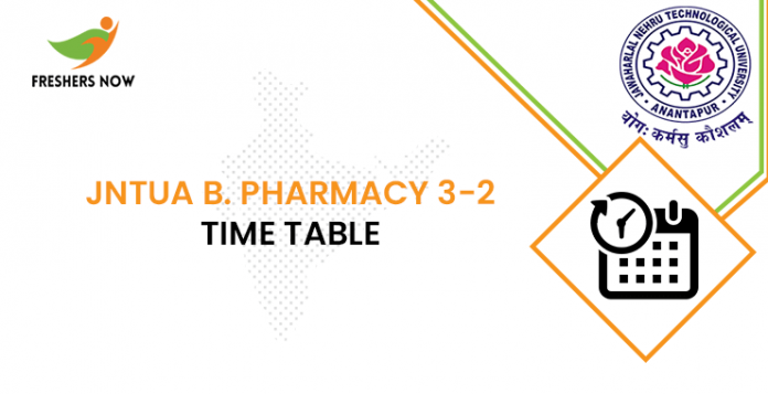 JNTUA B Pharmacy 3-2 Time Table