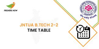JNTUA B Tech 2-2 Time Table