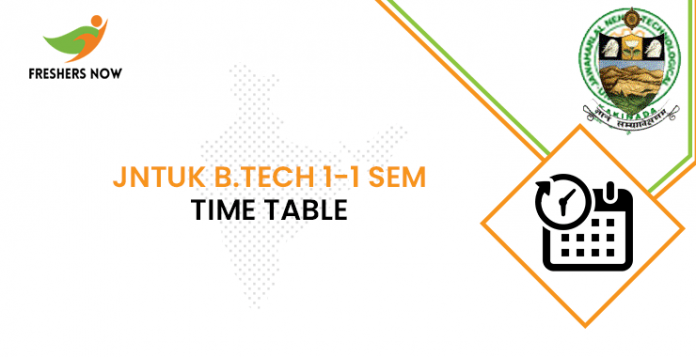 JNTUK B.Tech 1-1 Sem Time Table