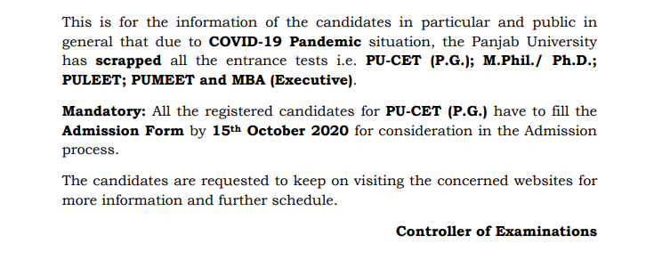 PU CET Exam Cancellation Notice