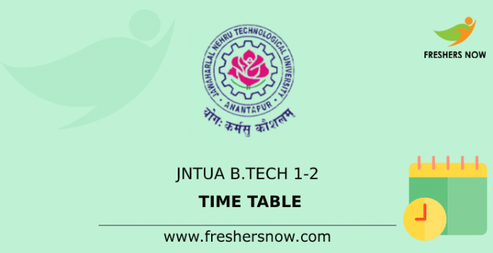 JNTUA B.Tech 1-2 Time Table