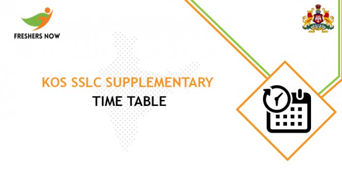 KOS SSLC Supplementary Time Table