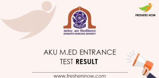 AKU M.Ed Entrance Test Result