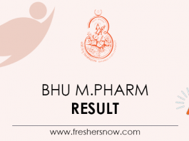 BHU M.Pharm Result