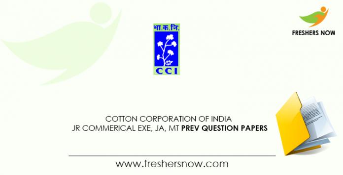 Cotton Corporation of India JCE Previous Question Papers