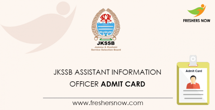JKSSB Assistant Information Officer Admit Card