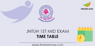 JNTUH 1st Mid Exam Time Table