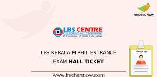 LBS Kerala M.Phil Entrance Exam Hall Ticket