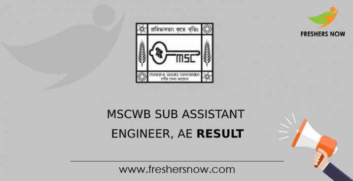 MSCWB Sub Assistant Engineer, AE Result