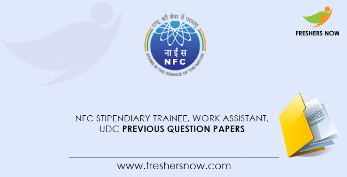 NFC Stipendiary Trainee, Work Assistant, UDC Previous Question Papers
