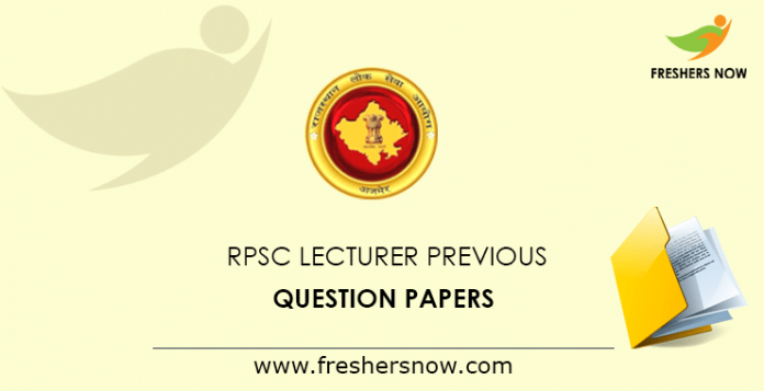 RPSC Lecturer Previous Question Papers