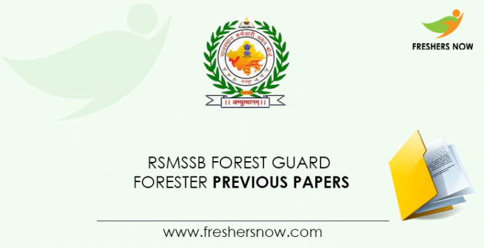 RSMSSB Forest Guard, Forester Previous Question Papers
