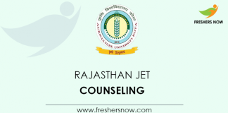 Rajasthan JET Counselling