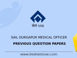 SAIL Durgapur Medical Officer Previous Question Papers