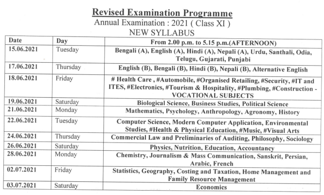 WB 11th Class Exam Dates