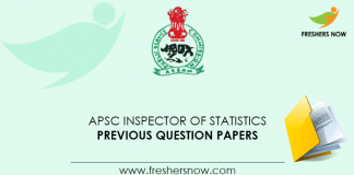 APSC Inspector of Statistics Previous Question Papers