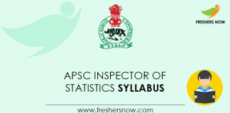 APSC Inspector of Statistics Syllabus