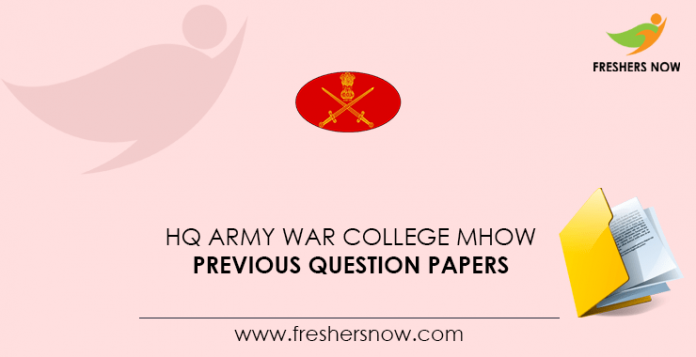 HQ Army War College MHOW Previous Question Papers