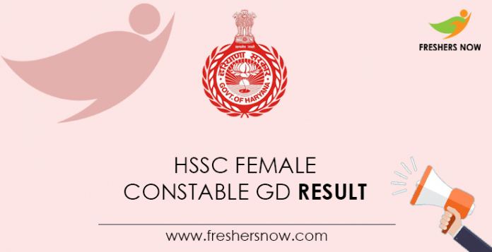 HSSC Female Constable GD Result