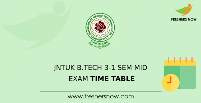 JNTUK B.Tech 3-1 Sem Mid Exam Time Table