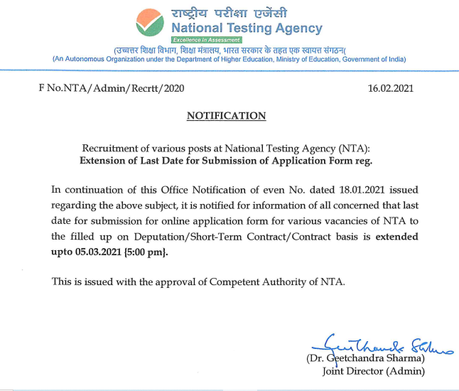 NTA Extended Notice