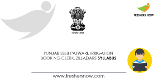 Punjab SSSB Patwari, Irrigation Booking Clerk, Zilladars Syllabus