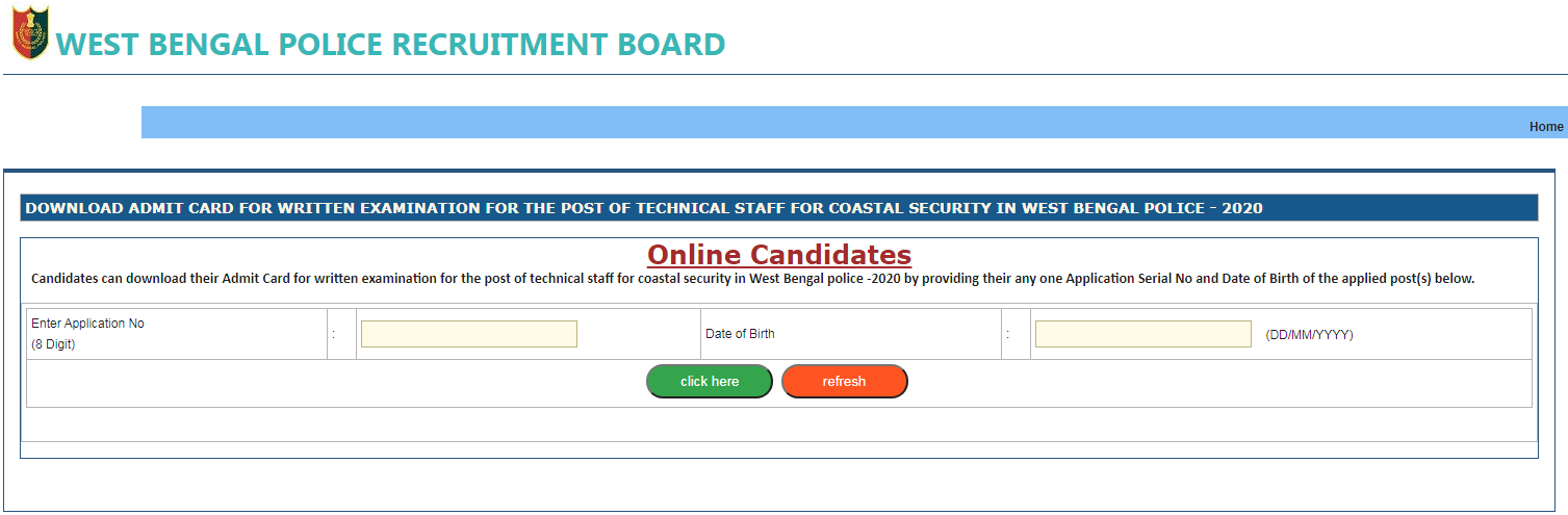 WB Police Technical Staff Hall Ticket Page