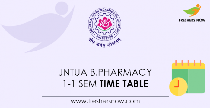 JNTUA-B.Pharmacy-1-1-Sem-Time-Table