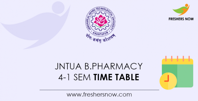 JNTUA-B.Pharmacy-4-1-Sem-Time-Table