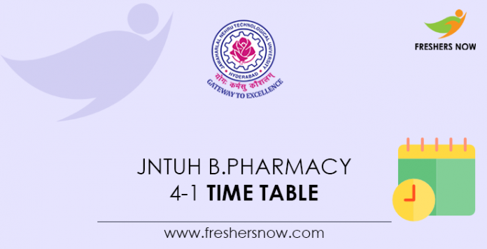 JNTUH-B.Pharmacy-4-1-Time-Table